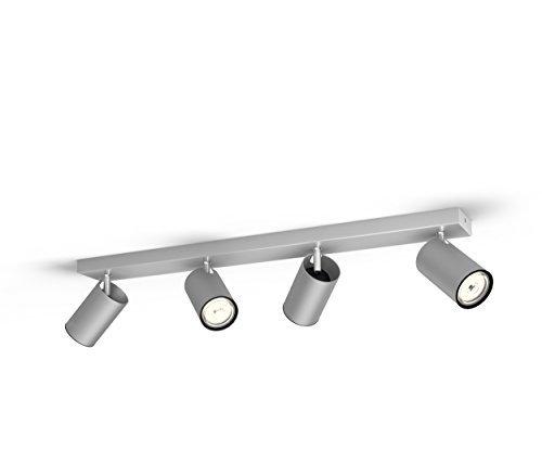 Philips Lighting Aluminium LED Spot Light Philips Faretto Kosipo con 4 Punti Luce, Alluminio, Attacco GU10, Lampadina Non Inclusa, Grigio, 7x62.8x9.2 cm
