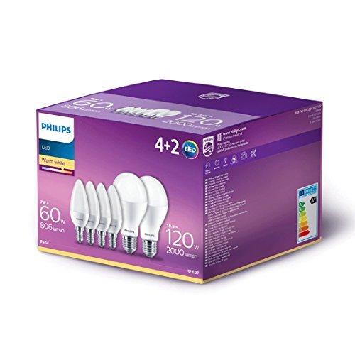 Philips Lighting Box composto da 4 Lampadine LED Oliva E14, 60W + 2 Lampadine LED Goccia E27 120W