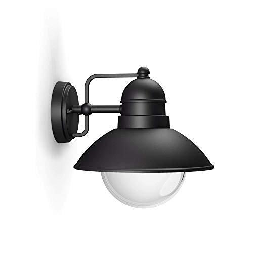 Philips Lighting Hoverfly Black Wall Light Lampada da Parete da Esterno E27, 60 W, Nero, 22.2 x 22.4 x 24.8 cm