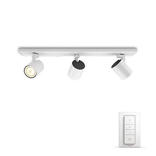 Philips Lighting Hue Runner White Faretto LED Triplo con Dimmer Incluso GU10, 5.5 W, Bianco, 48 x 9 x 10.9 cm, 3 unità