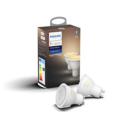 Philips Lighting Hue White Ambiance Faretti LED Connessi, con Bluetooth, Dimmerabile, Attacco GU10, 6 W, 2 Pezzi, Dispositivo Certificato per gli umani