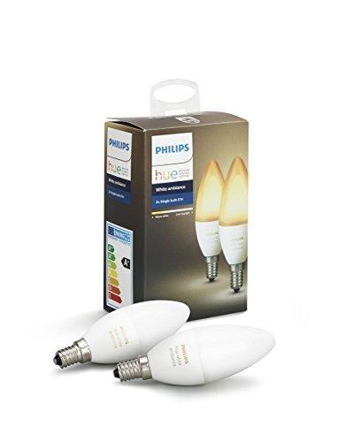 Philips Lighting Hue White Ambiance Lampadina LED Smart, Dimmerabile, Tutte le Sfumature della Luce Bianca, Compatibile con Alexa e Google Home E14, 6 W, 2 Unità