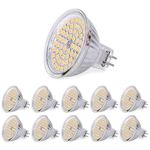 SanGlory 10 x Lampadine LED GU5.3 MR16 5W, Lampada GU5.3 LED Luce Calda 3000K 380 Lumen, Pari a Lampadine Halogen da 50W, 60 * 2835 SMD Lampade LED GU5.3 Non Dimmerabile, AC 12V
