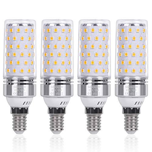 SanGlory 4 Pezzi Lampadina LED E14 12W Equivalenti a 100W 1350 Lumens Alta luminosità e Risparmio Energetico Non Dimmerabile Lampade LED E14 Luce Bianco Caldo 3000K per Lampadario (E14 Calda)