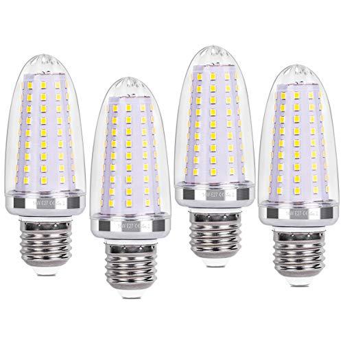 SanGlory 4 Pezzi Lampadine LED E27 a Candela - 14W Equivalenti a 120W - 1580 Lumens Luce Bianca Fredda 6000K CRI>80+, Lampadina Mais LED E27 Non Dimmerabile (E27 Luce Fredda)