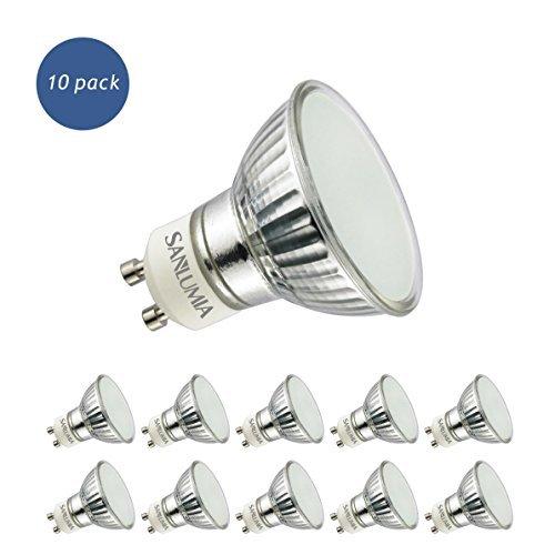 Sanlumia Lampadine LED GU10 5W, Equivalenti a Lampadine Alogene da 50 Watt, 400lm, Bianco Naturale Colore 4000K, Angolo del Fascio di 120 Gradi, Non-Dimmerabile, Confezione da 10