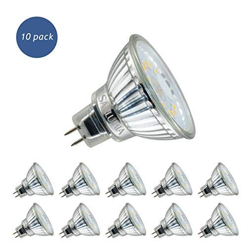 Sanlumia Lampadine LED GU5.3 MR16 5W, Equivalenti a Lampadine Alogene da 50 Watt, 450lm, Bianco Naturale Colore 4000K, AC/DC 12V, Angolo del Fascio di 120 Gradi, Non-Dimmerabile, Confezione da 10