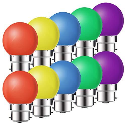 Set di 10 lampadine LED B22 1 W, a risparmio energetico colorate, lampadine di Natale, ghirlanda rosso, giallo, blu, verde, viola (equivalente 10 W)