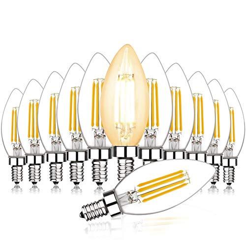 Svater 12 Pezzi Lampadine Led E14 C35 Lampadina Filamento Bianco Caldo 2700K 4W Piccola Base a Vite 40W Bulb a Incandescenza Equivalente Vintage Edison Angolo a 360 Gradi Non Dimmerabile