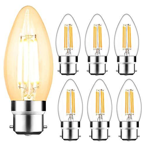 Svater 6 Pezzi Lampadine Led B22 C35 Edison Lampadina Candela 4W Piccola Base a Vite 40W Bulb a Incandescenza Equivalente Bianco Caldo 2700K Lampadina Filamento Angolo a 360 Gradi Non Dimmerabile