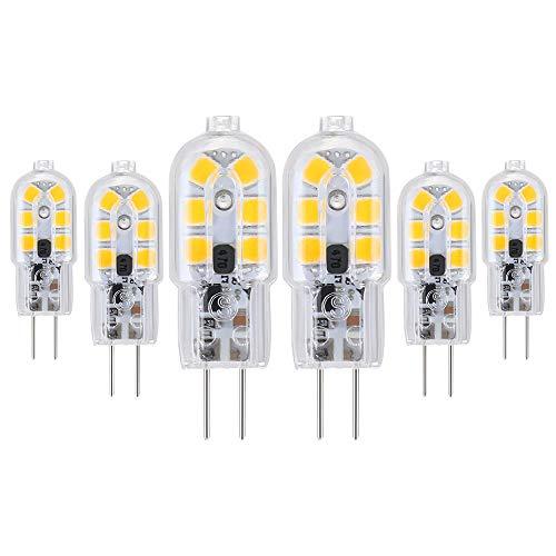 Vicloon G4 LED Lampadina, 6 Pezzi 1.8W AC/DC12-24V Lampadina Equivalenti a 20W Lampada Alogena, Bianco Caldo 3000K, 180 lumen, 360 Gradi, Trasparente Lampadina a Risparmio Energetico LED [Classe A++]