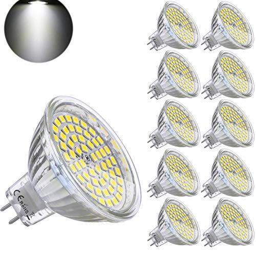Yafido Lampadine LED GU5.3 MR16 12V 5W Equivalente a 35W Lampada Alogena GU 5.3 Bianco Freddo 6000K 400LM Faretti Luce Non-Dimmerabile (Confezione da 10)