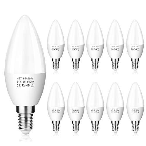 ZIKEY Confezione da 10 Lampadina LED E14 a Candela - 6W Equivalenti a 50 W, Luce Bianca Fredda 6000K 600Lm, C37, Non Dimmerabile