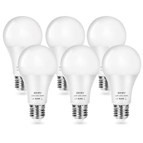 ZIKEY Lampadina LED E27, 12W Equivalenti a 100W, A65 Luce Bianca Calda 3000K, 1100LM, non dimmerabile - Pacco da 6