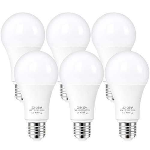 ZIKEY Lampadina LED E27, 14W Equivalenti a 110W, A65 Luce Bianca Fredda 6000K, 1200LM, non dimmerabile - Pacco da 6
