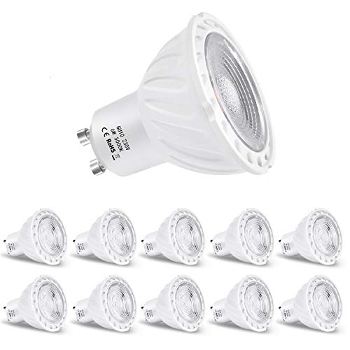 ZIKEY Lampadine LED GU10 6W, Bianco Caldo 3000K, Equivalenti a Lampadine Alogene da 60Watt, 600lm, non dimmerabile, Confezione da 10
