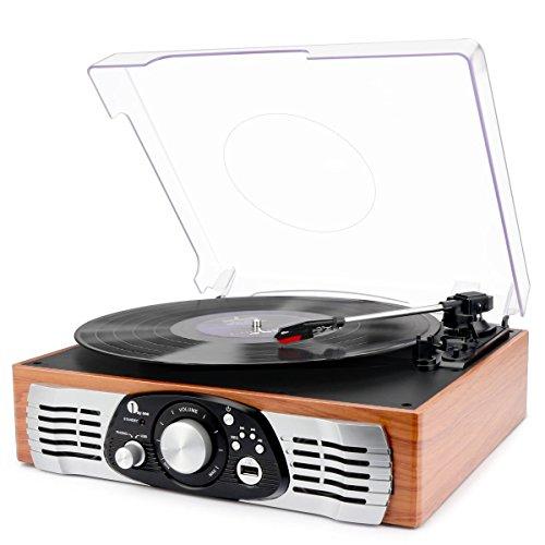 1 BY ONE Stereo Giradischi Cinghia a 3 velocità e Altoparlante Integrato, Lettore Multiplo con Conversione da Vinili a MP3, USB per Riproduzione MP3, Output RCA, Connettore Phono, Legno