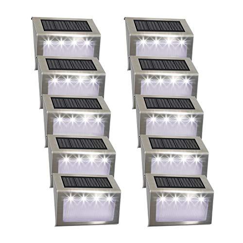 [10 pacchi] Luce per scale solare, Easternstar 4 LED Luci solari da esterno Inossidabile Acciaio impermeabile Lampada per recinzione Giardino Scala Percorso Strada Patio Parco Ponte