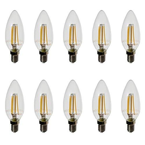 10-pezzi - 4301 - V-TAC - Lampadina Filamento LED Candela - Casquillo E14 - Potenza 4W (sostituisce 40 W) - Luce Bianca Calda (2700K) - 400 lm - Angolazione fascio luce 300°
