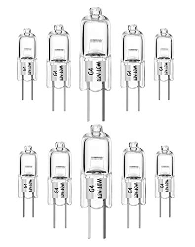 10 pezzi Lampadine alogene G4 10W 12V bianco caldo 2700K dimmerabile capsula trasparente