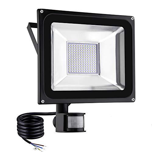100W Faretto LED da Esterno con Sensore di Movimento 10000LM IP65 Impermeabile Faro LED luce calda 3000K Illuminazione per Giardino Corridoio Garage Parcheggio [Classe di efficienza energetica A+]