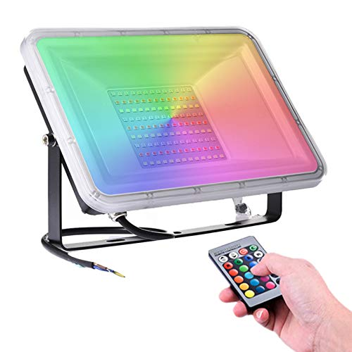 100W Faretto LED da Esterno RGB con Telecomando, Illuminazione del Paesaggio con Funzione di Memoria 16 Colori e 4 Modalità, 8000lm IP66 Impermeabile Proiettore LED per Giardino palcoscenico Festa