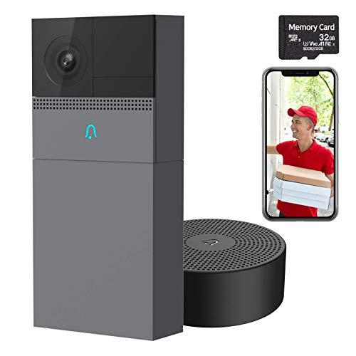 1080P WiFi Video Campanello con Rintocco,Telecamera per Campanello B1, Rilevamento del Movimento Umano, Audio Bidirezionale, Visione Notturna, IP65 Impermeabile, Compatibile con Alexa(SD)