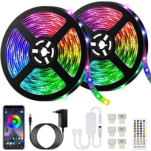 10M Bluetooth Striscia LED Musicale 5050 RGB Impermeabile SMD, 300 LED TV Retroilluminazione Strisce, Funzione Musicale, Programma Personale, Controllo App e Telecomando, Flessibile