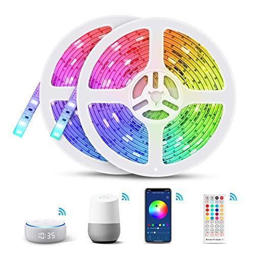 10M WIFI Striscia LED Alexa, TASMOR Smart Striscia LED RGB Impermeabile Compatibile con Alexa Echo e Google Home, Smart Nastri LED con Telecomando IR