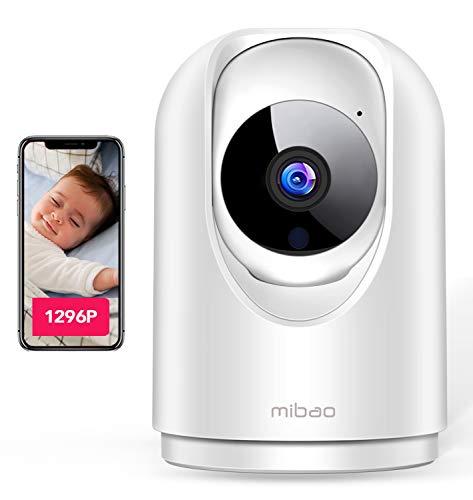 1296P Telecamera Wi-Fi Interno, Mibao Videocamera Sorveglianza interno wifi con Super Visione Notturna / Audio Bidirezionale / Motion tracking / Allarme APP, IP Camera Wifi per anziani/baby