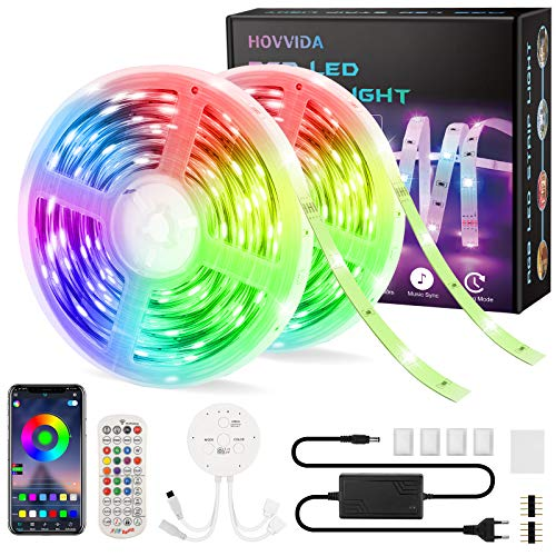 15M Striscia LED RGB 5050 Musicale, HOVVIDA Bluetooth Strisce LED 12V Musica, Controllato da APP, Telecomando IR e Controller, 16 Milioni di Colori, 28 Modalità di Stile, Modalità di Temporizzazione