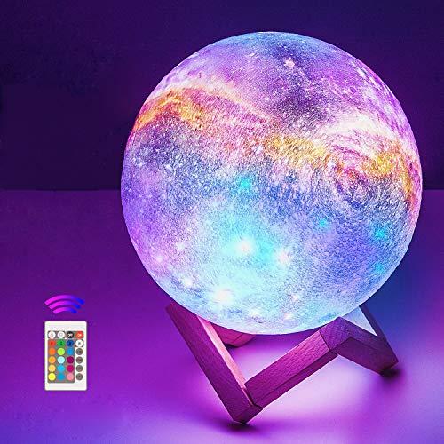 18cm Lampada Luna stellata 3D Stampata,OxyLED 16 Colori Telecomando Controllo Touch USB ricaricabile LED Luce Decorativa per Casa Diametro, Decoro per Stanza Letto Mood Light per Camera