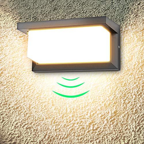 18W Applique da Esterno LED Lampada da Parete Impermeabile IP65 per Balcone, Giardino, Veranda, Via, Garage, Nero, Bianco Caldo