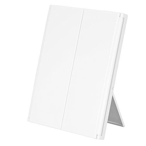 1pc Specchio di tre pannelli pieghevole 8 LED luminoso specchio di trucco di tavolo specchio cosmetico regolabile per femmmes 3 colori bianco