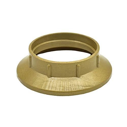2 anelli a vite E14 in plastica dorata per portalampada per paralumi o elementi in vetro per lampade da tavolo, lampade da parete e lampade a stelo