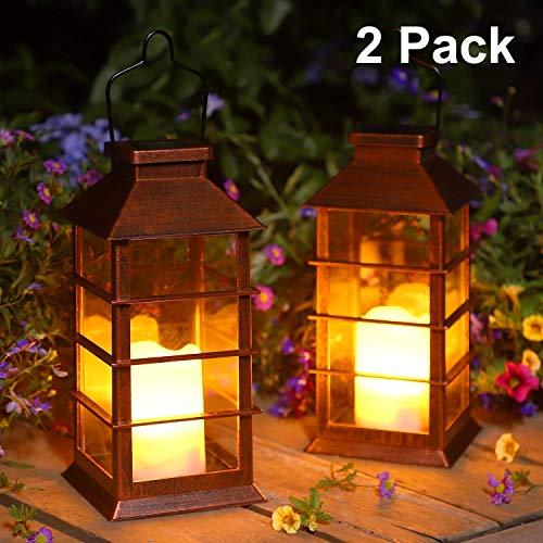 2 Pack Lanterna Solare Esterno Lampada da Giardino IP44 impermeabile Vintage Lanterne Decorativo Plastica Senza Fiamma LED Luci per Patio Cortile Feste [Classe di efficienza energetica A+]