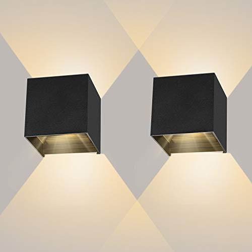2 Pezzi 12W Applique Parete per interni/esterno LED nero moderno, Lampada da parete in alluminio IP65 Impermeabile, Lampada Muro 3000K Bianco caldo Angolo di luce regolabile