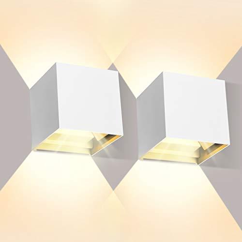 2 Pezzi 12W Lampada da Parete LED Bianco Caldo 3000K Moderno Applique da Parete interno/esterno Lampada da Muro IP65 Impermeabile Applique Cubo in alluminio Bianco