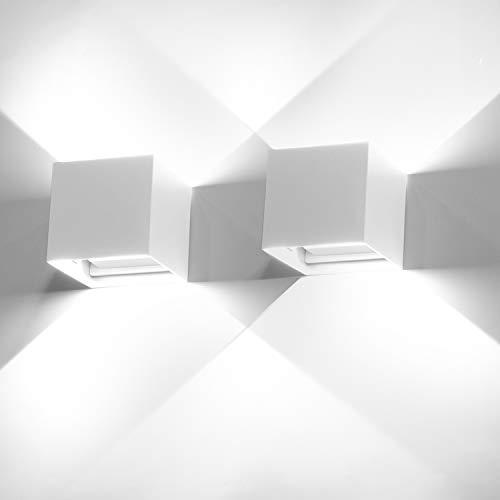 2 Pezzi 12W LED Lampada da parete Bianco freddo 6000k Applique da parete interno/esterno moderno Impermeabile IP65 Bianco Applique cubo in alluminio Lampada Muro su e Giù Regolabile luci a parete