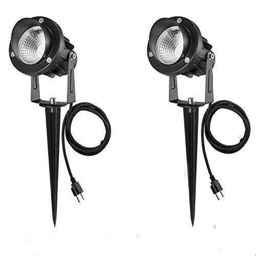 2 Pezzi 7W Faretti LED da Giardino 1000 Lumen IP66 Impermeabile Lampada Luci da Giardino con Picchetto, Faretto a LED da Esterno per Cortile e Terrazze (2 Pezzi Bianco Caldo)