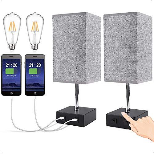 2 pezzi Lampada da Comodino Touch, Lampada da Tavolo USB, Lampada USB con Lampadina Dimmerabile, Lampada da Notte per Camera da Letto Soggiorno
