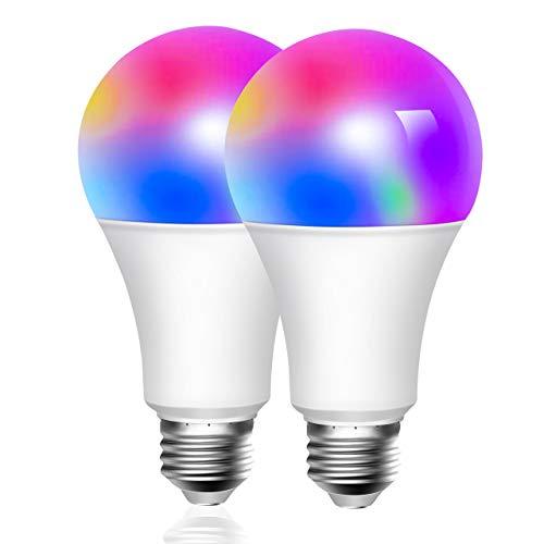 [2 Pezzi] Lampadina Smart 10W 6500k+3W RGBW, ATSUI E27 WiFi 10W 900LM Lampadina LED Multicolore Compatibile Con Cellulari, Google Home e IFTTT (non richiede HUB) [Classe di efficienza energetica A+++]
