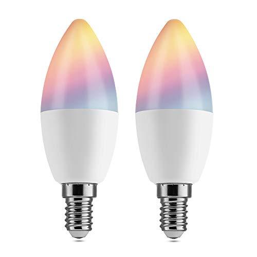 【2 Pezzi】Lampadina Smart LED E14 BrizLabs Lampadina Wifi Intelligente 4,5W LED RGB dimmerabile 16 milioni di colori Nessun hub richiesto Controllo Vocale Funzione Timer con Alexa, Google Home, IFTTT