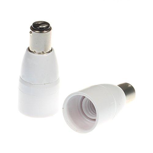 2 x adattatore portalampadina da B15 B15D/BA15D a E14, convertitore per lampadine alogene e LED