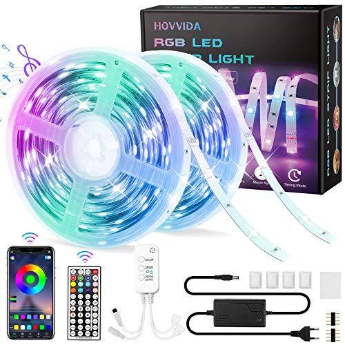 20M Striscia LED RGB 5050 Musicale, HOVVIDA Bluetooth Strisce LED 12V Musica, Controllato da APP, Telecomando IR e Controller, 16 Milioni di Colori, 28 Modalità di Stile, Modalità di Temporizzazione