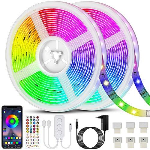20M(10m*2) Bluetooth Striscia LED RGB 5050 600LEDs, Bluetooth 40 Tasti Telecomando, Funzione Musicale, Smart Controllo APP e Telecomando, per Decorazioni Cucina, Bar, Festa