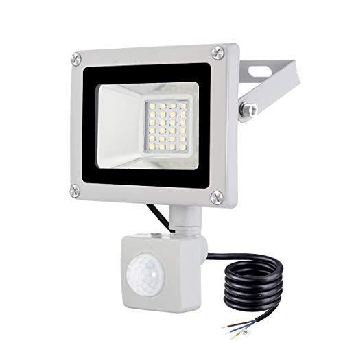 20W Faretto LED da Esterno con Sensore di Movimento 1600LM IP65 Impermeabile Faro LED Bianca Fredda 6500K Illuminazione per Giardino Corridoio Garage Parcheggio [Classe di efficienza energetica A+]