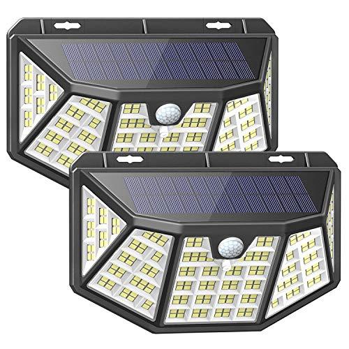 212LED Faretto da esterno solare,IP65 Impermeabile ,3 Modalità ,con Sensore di Movimento ,270° Cinque lati Illuminazione wireless Lampada Solare per Giardino,Wireless Risparmio Energetico (2 pezzi)