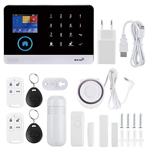 2.4 TFT Kit di Sistema di Allarme Intelligente, 433 MHZ Wireless GSM + GPRS + WIFI Allarme Video Intelligente con Host di Allarme, Sensore PIR, Tromba di Allarme, Telecomando per Android/iOS(EU)
