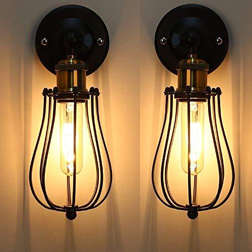 2PC E27 Metallo Lampada da Parete Vintage Lampada Muro Applique a Gabbia Applique da Parete Lampada Muro Perfetto per Camera da Letto, Soggiorno, Bagno, Corridoio, Scale